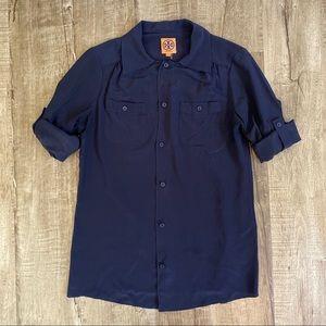 Tory Burch Silk Button-Up Blouse Navy Blue 6
